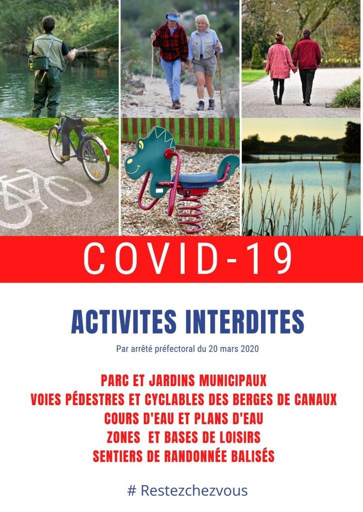 Covid-19 - activités interdites
